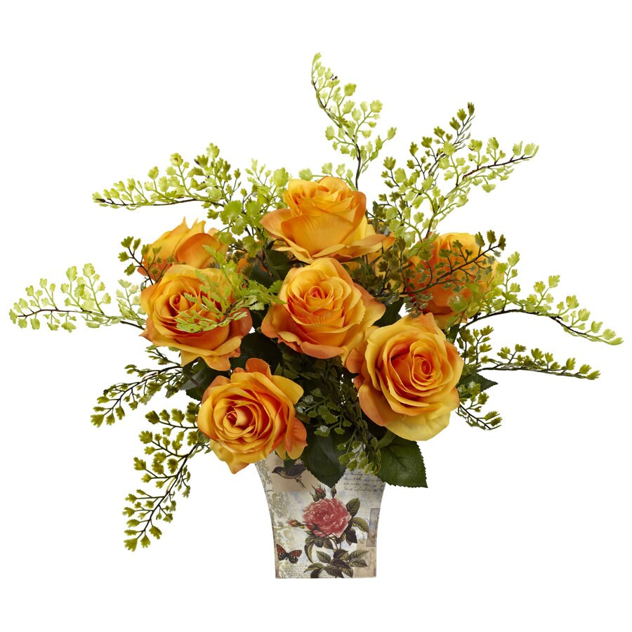 Nearly Natural 13-in Orange Silk Arrangement