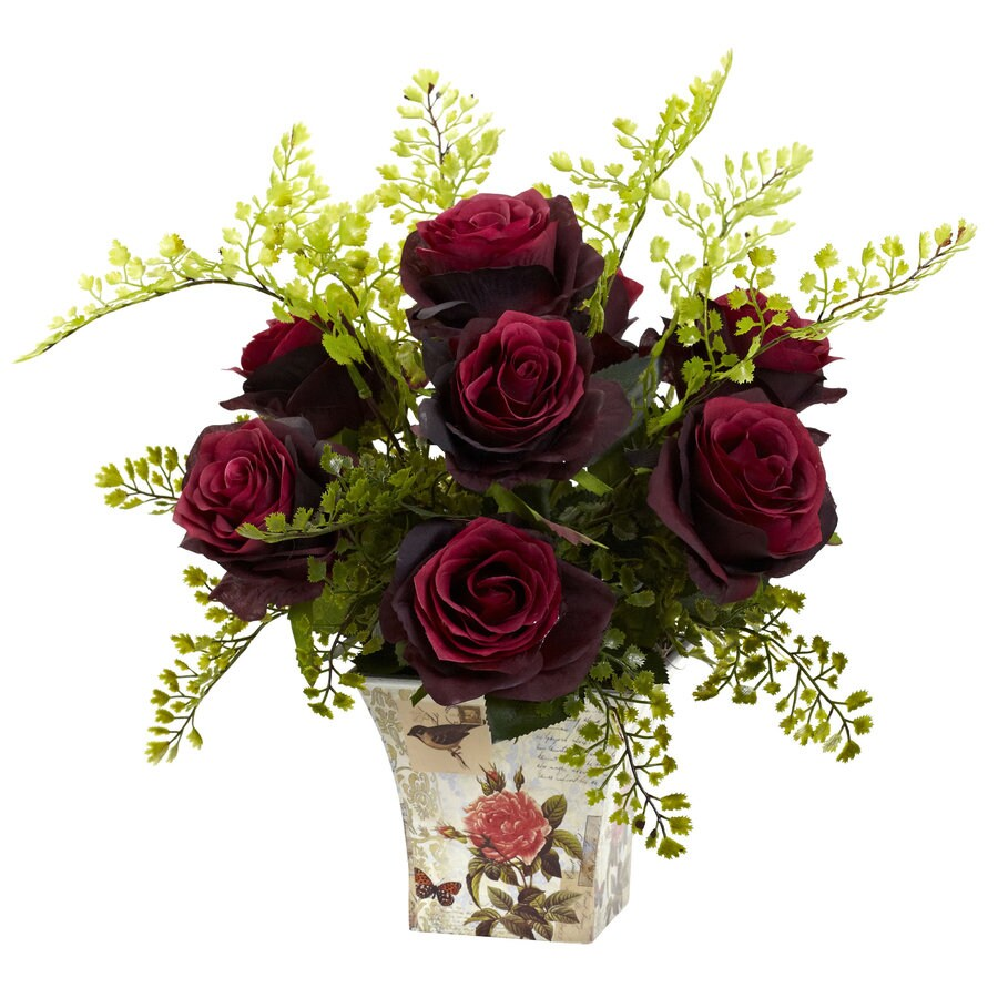 Nearly Natural 13-in Burgundy Silk Arrangement