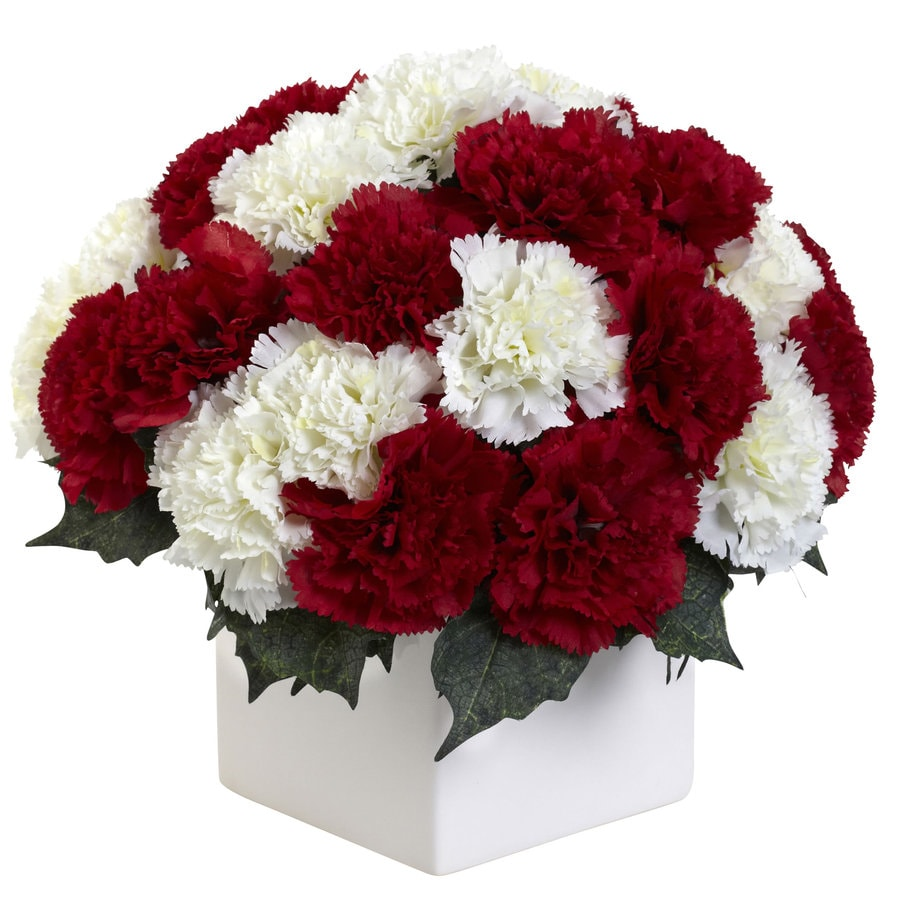 Nearly Natural 11-in Red/White Silk Arrangement