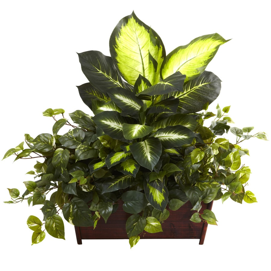 Nearly Natural 30-in Multicolor Silk Plant