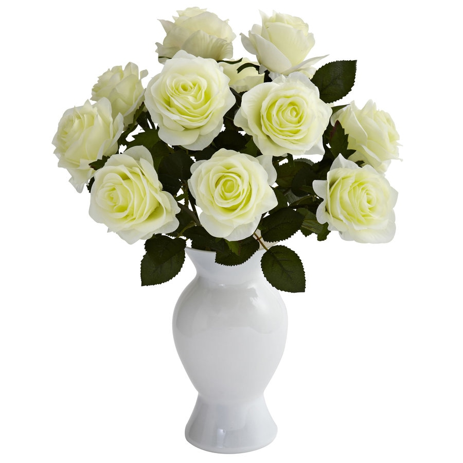 Nearly Natural 18-in White Silk Arrangement