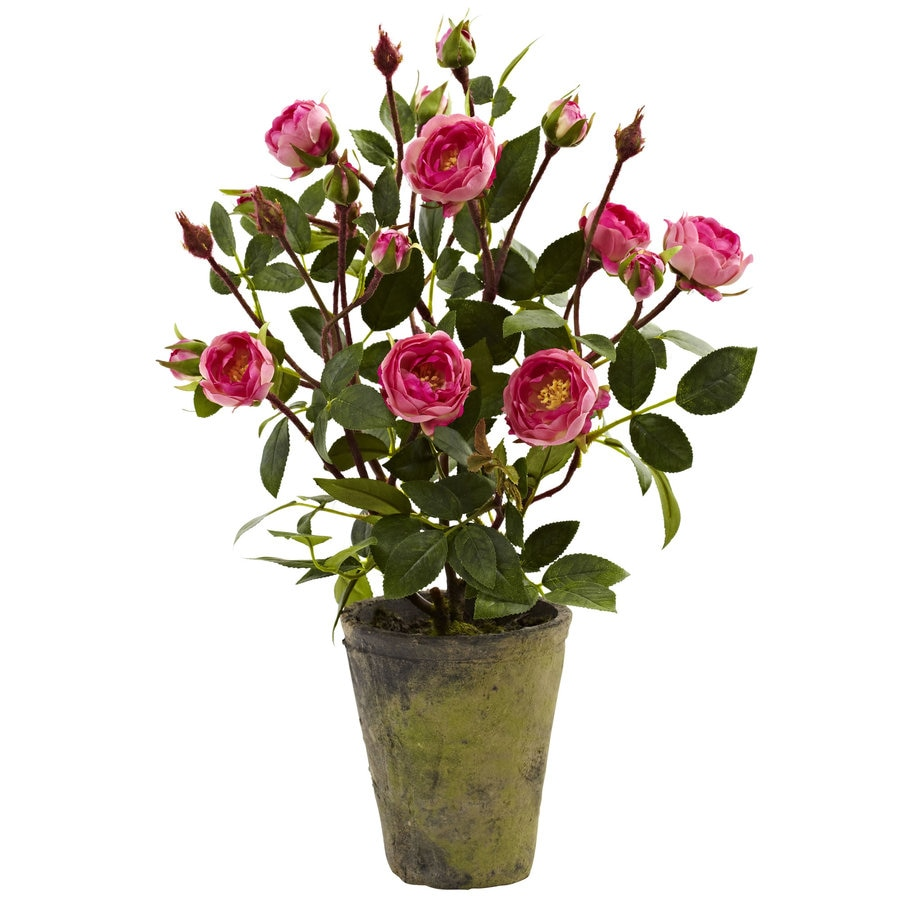 Nearly Natural 14-in Pink/Green Silk Plant