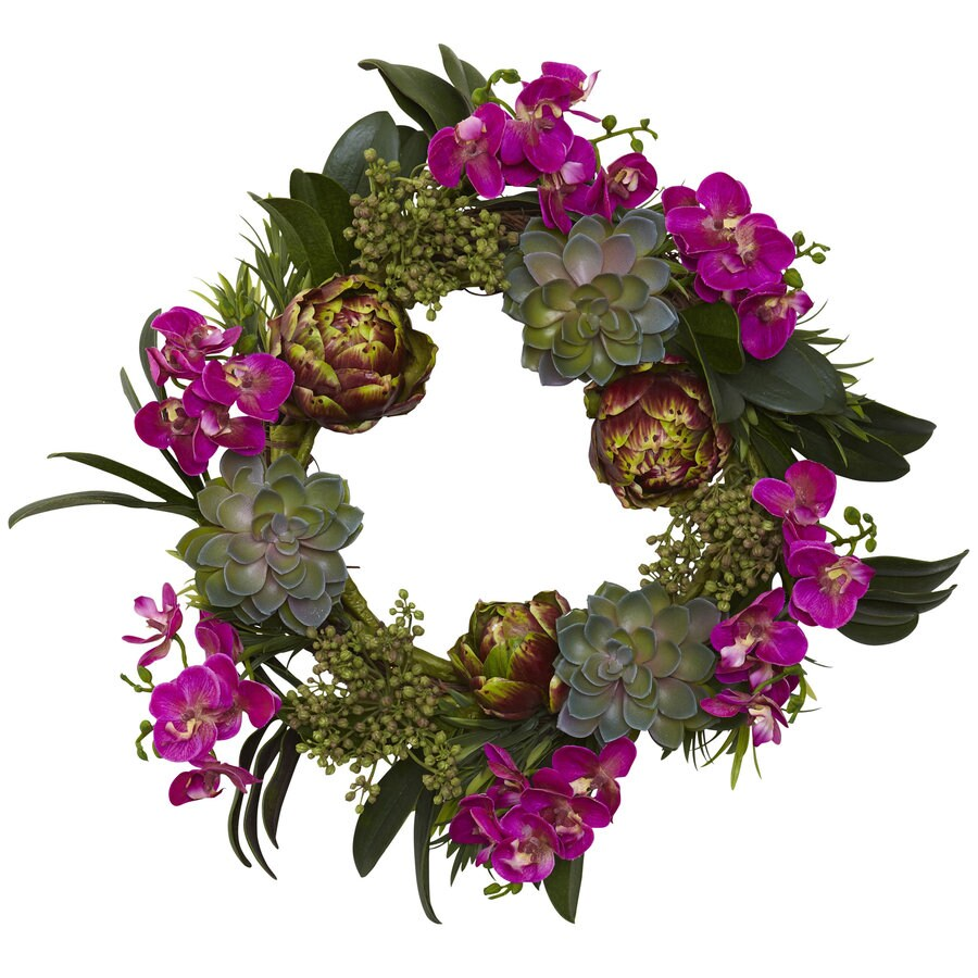 Nearly Natural 20-in Purple Wreath