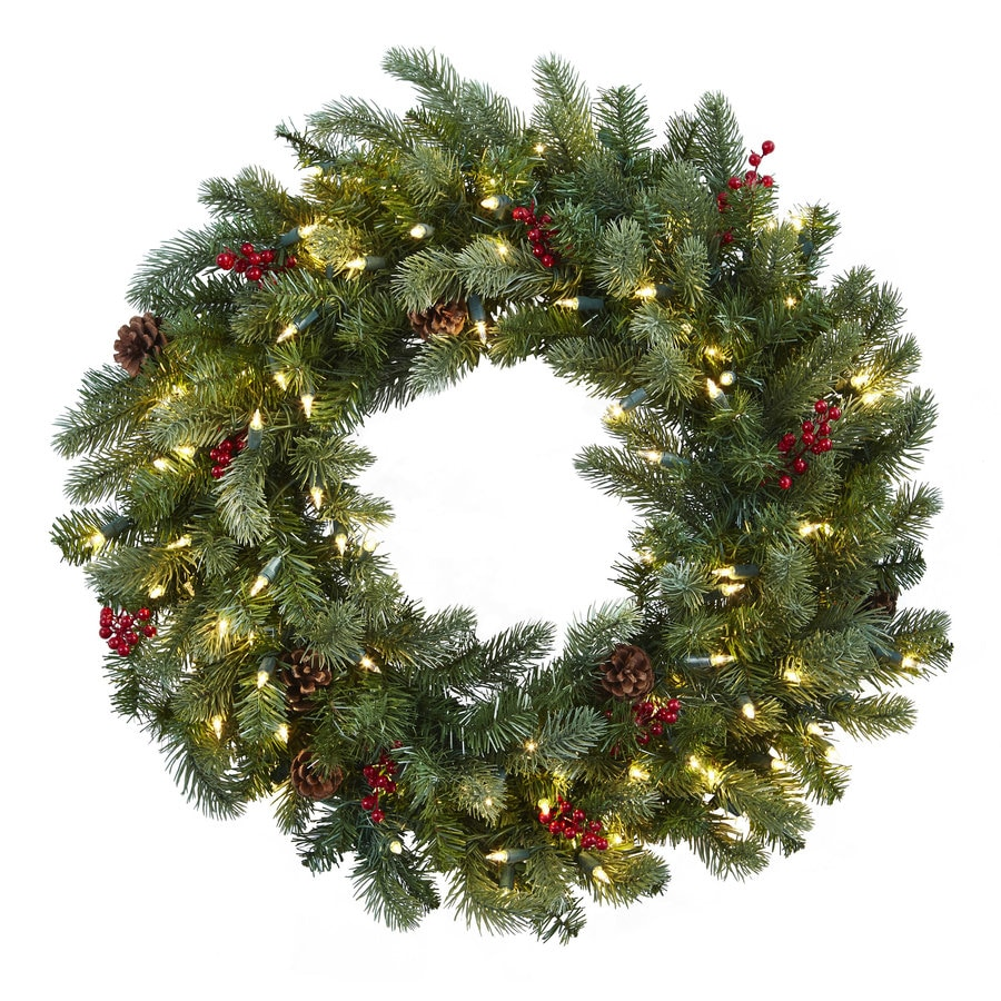 Nearly Natural 30-in Pre-lit Indoor Electrical Outlet Green Pine Artificial Christmas Wreath White Cool White LED Lights
