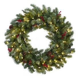 Nearly Natural 30 In Pre Lit Green Pine Artificial Christmas Wreath White Cool