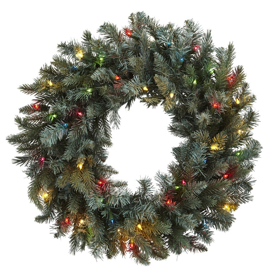 Nearly Natural 30-in Pre-Lit Plug-In Green Pine Artificial Christmas Wreath with Multicolor LED Lights