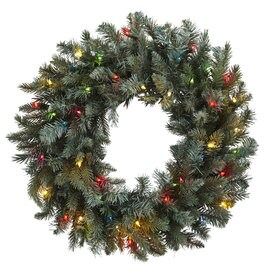 Nearly Natural 30-in Pre-lit Green Pine Artificial Christmas Wreath with Multicolor LED