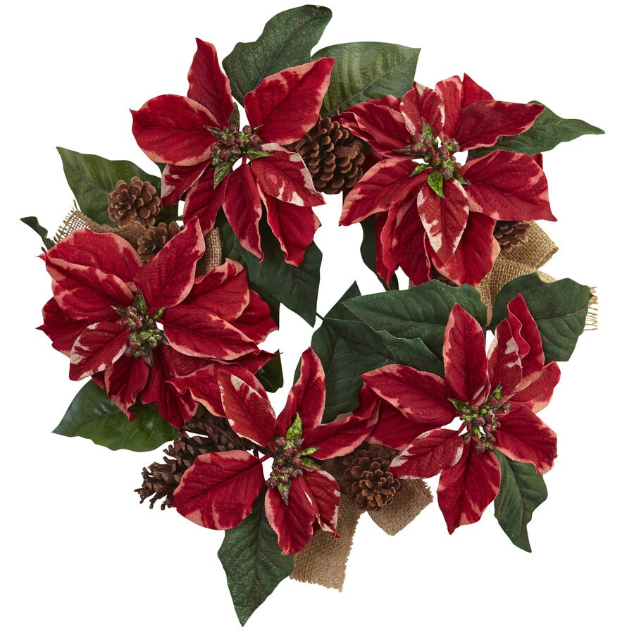 Nearly Natural 22-in Indoor Green/Red/Brown Poinsettia Artificial Christmas Wreath