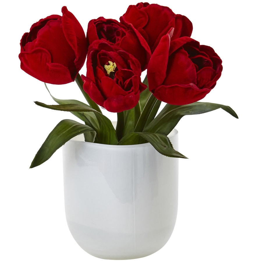 Nearly Natural 8.5-in Red Tulips