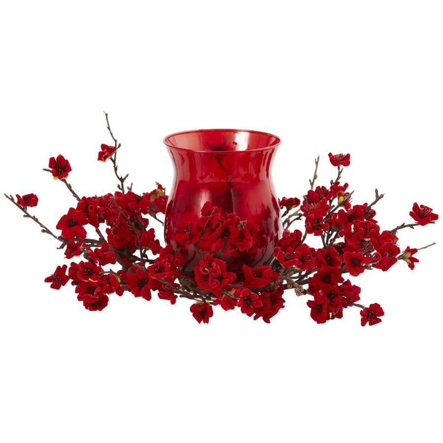 Nearly Natural 6.5-in Red Candelabrum