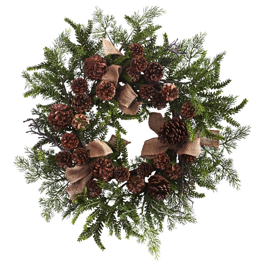 Nearly Natural 24-in Indoor Green/Brown Pine Artificial Christmas Wreath