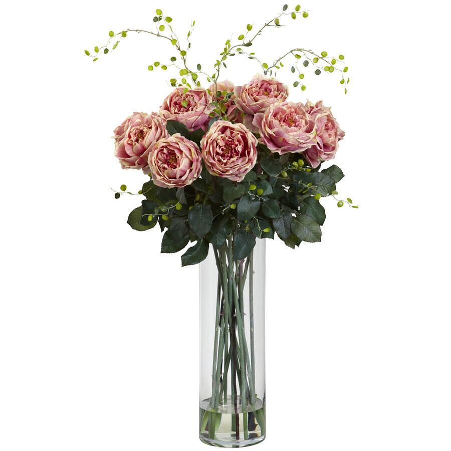 Nearly Natural 32-in Pink Rose