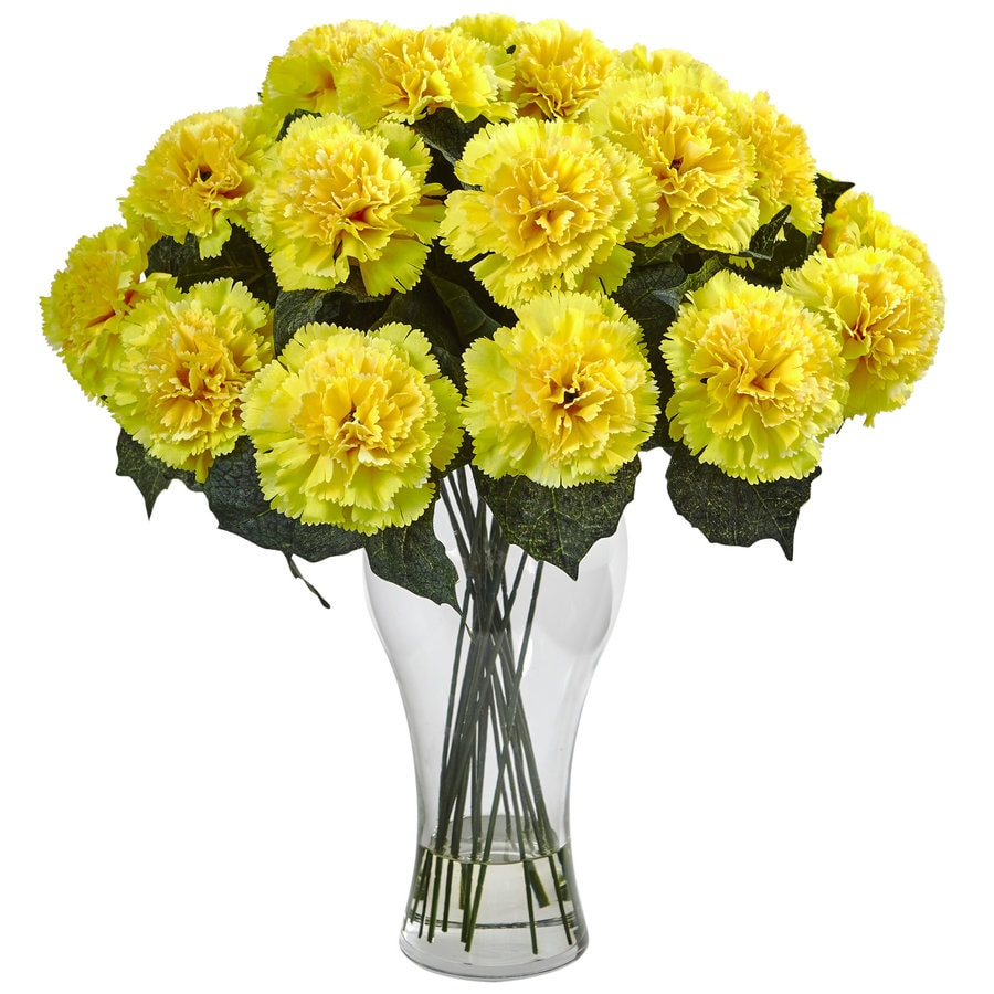 Nearly Natural 18-in Yellow Carnation