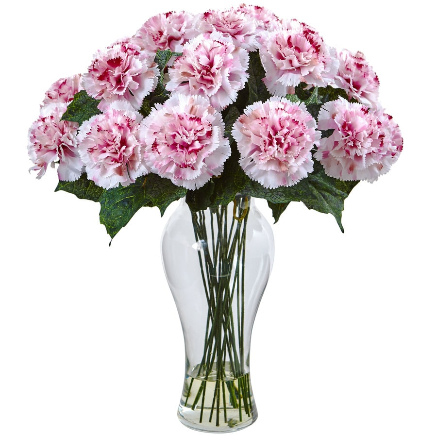 Nearly Natural 18-in White Mauve Carnation