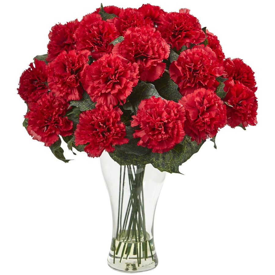 Nearly Natural 18-in Red Carnation