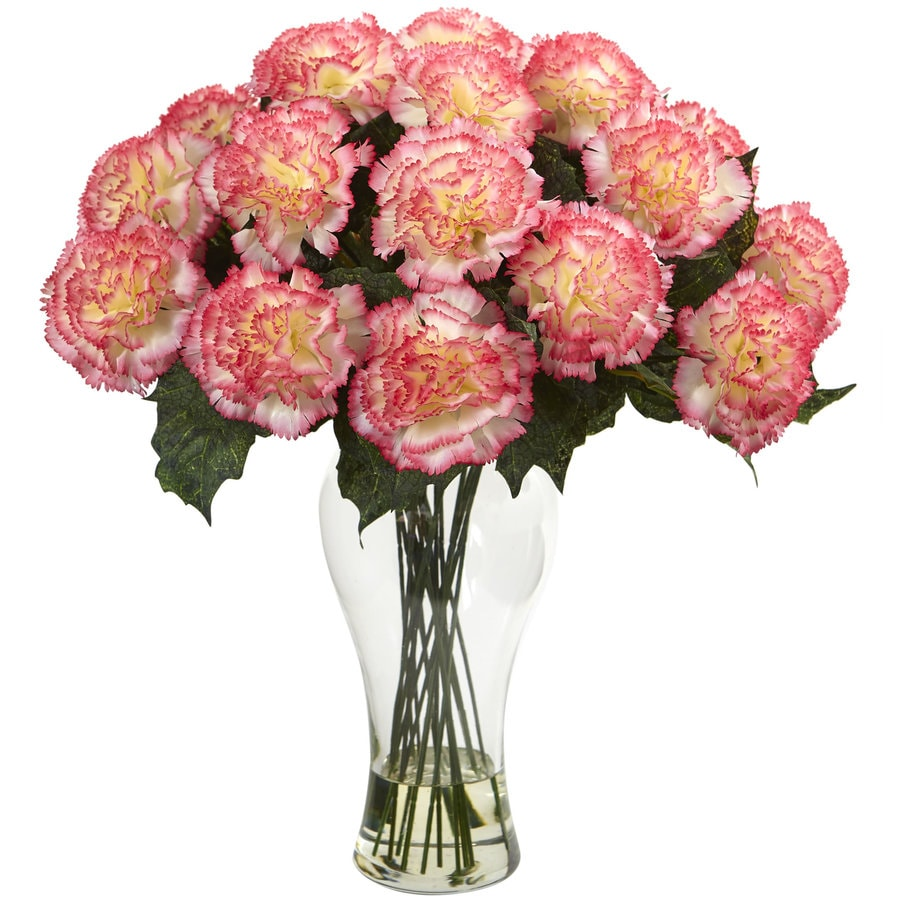 Nearly Natural 18-in Cream Pink Carnation