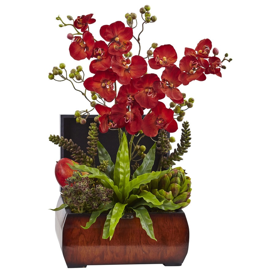 Nearly Natural 22-in Red Orchid
