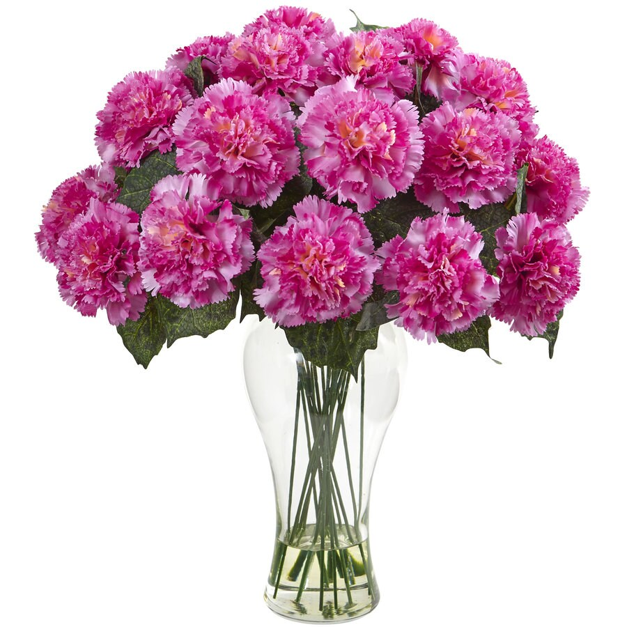 Nearly Natural 18-in Dark Pink Carnation