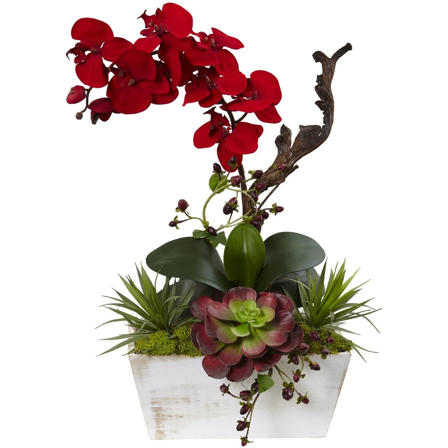 Nearly Natural 21-in Red Orchid