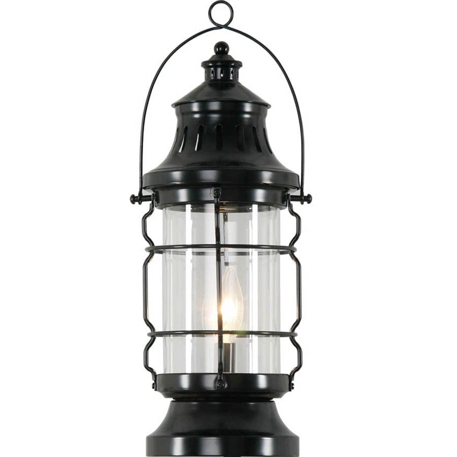 Portfolio 17.25-in Black Table Lamp with Glass Shade