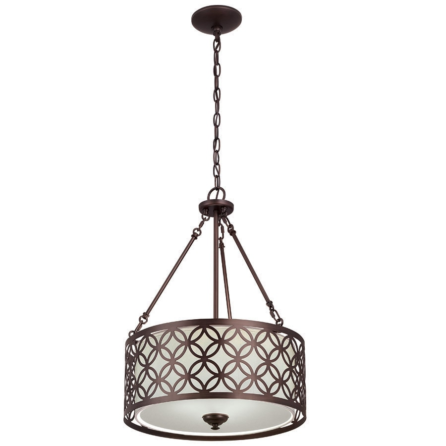 Shop allen + roth Earling 18-in Oil rubbed bronze Hardwired Single Drum Standard Pendant at ...