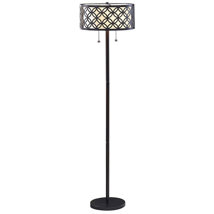 allen + roth Earling 63-in Oil Rubbed Bronze Shaded Floor Lamp Indoor Floor Lamp with Fabric Shade