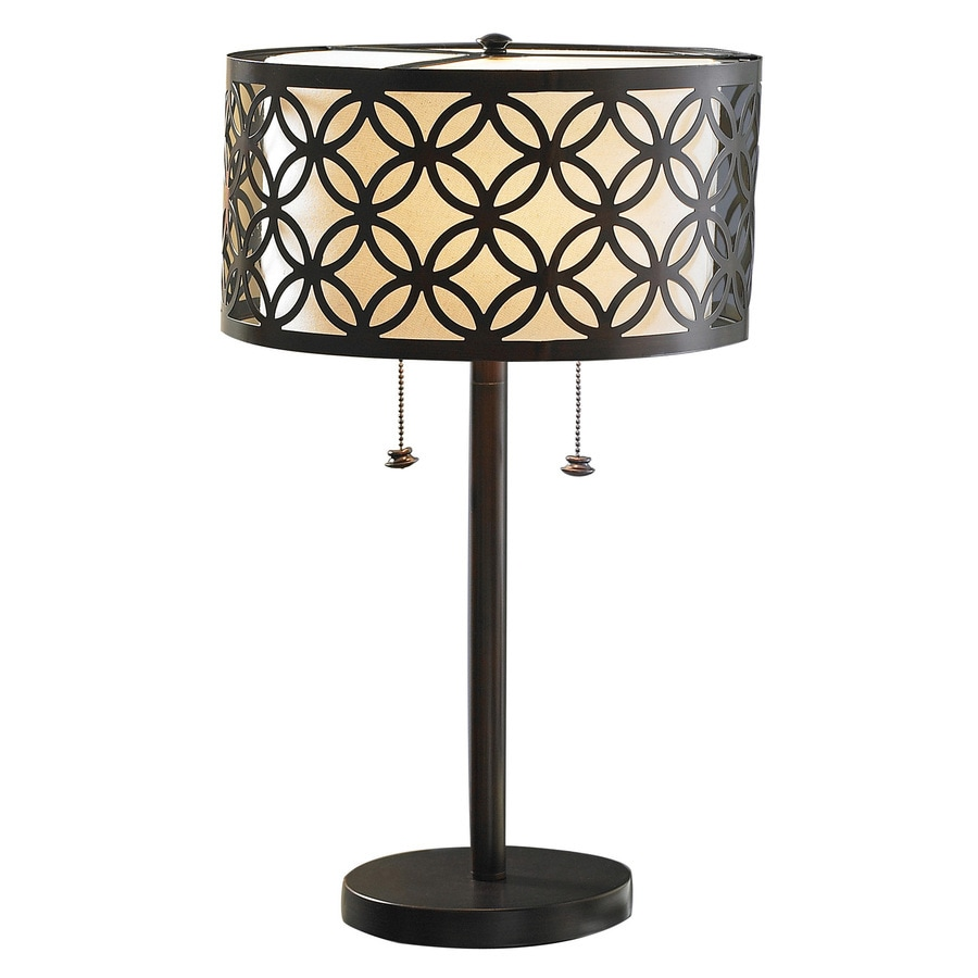 allen + roth Earling 25-in Oil Rubbed Bronze Table Lamp with Fabric Shade