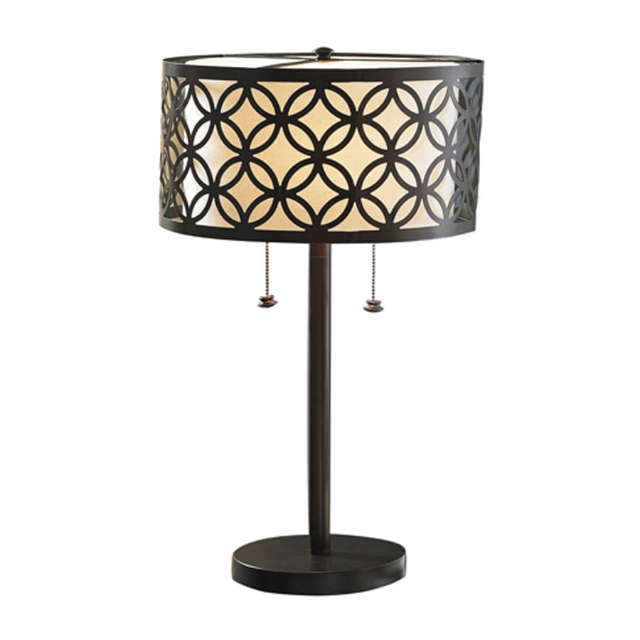 allen + roth Earling 25-in Oil-Rubbed Bronze Indoor Table Lamp with Fabric Shade