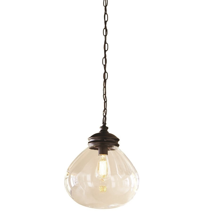 Allen + Roth Bristow 12 In Oil Rubbed Bronze Vintage Single Clear Glass  Globe Pendant