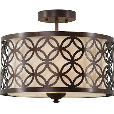 Earling 15 In W Oil Rubbed Bronze Fabric Semi Flush Mount Light