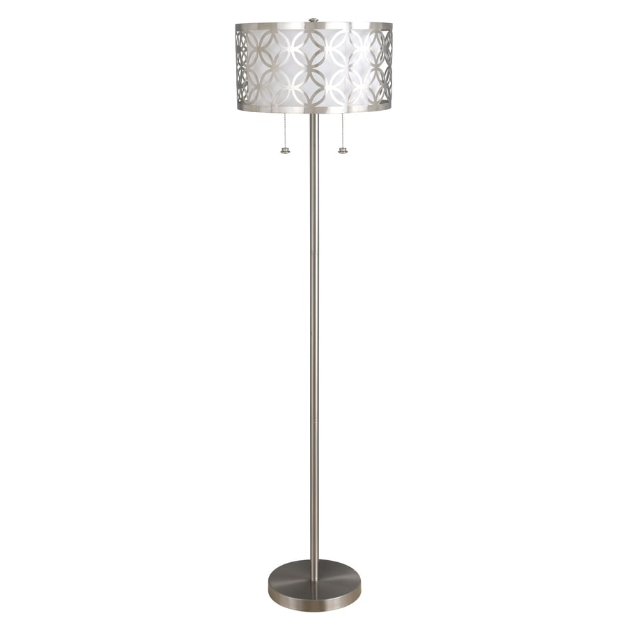 allen + roth Earling 63-in Brushed Nickel Shaded Floor Lamp Floor Lamp with Fabric Shade
