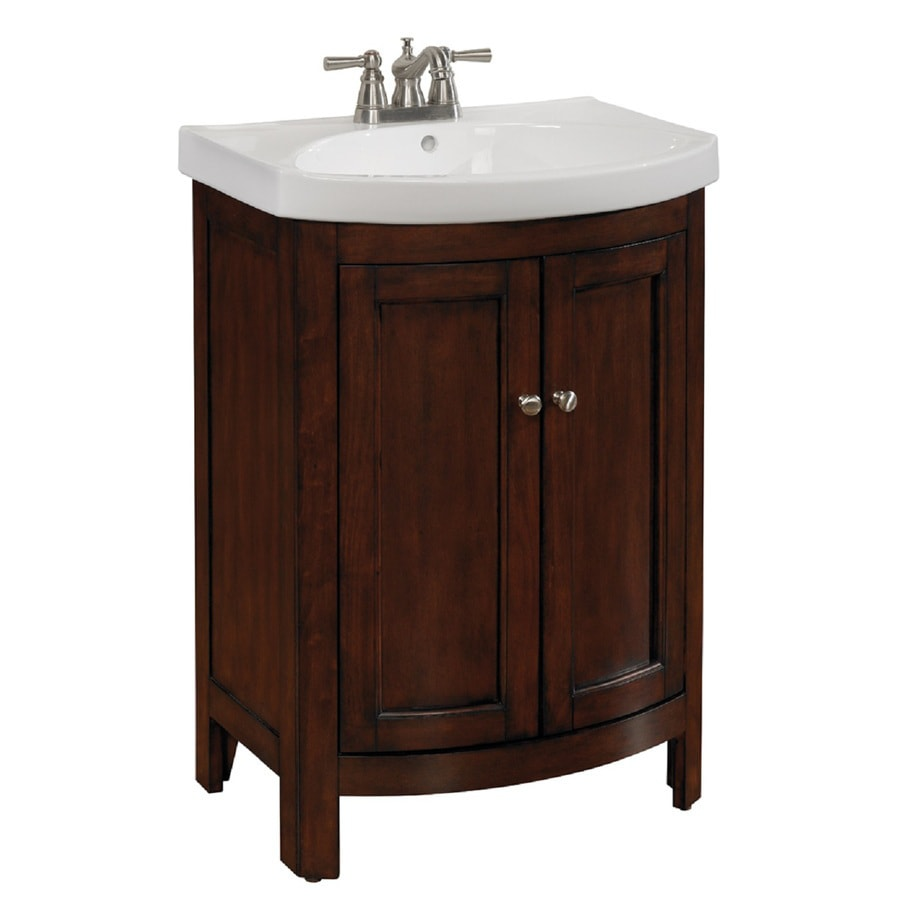 Shop Allen Roth Moravia Sable Vanity With White Vitreous China Top - Lowes bathroom cabinets and vanities