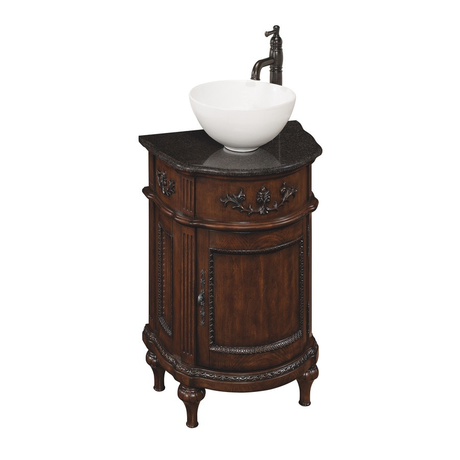 Shop allen roth vinton sienna vessel single sink birch poplar bathroom vanity with granite top Lowes bathroom vanity and sink