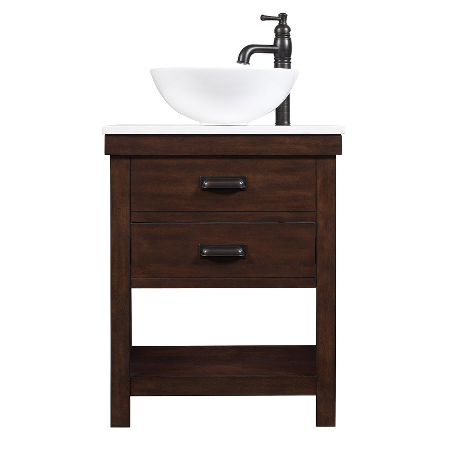 Shop style selections cromlee bark single vessel sink bathroom vanity with engineered stone top Lowes bathroom vanity and sink