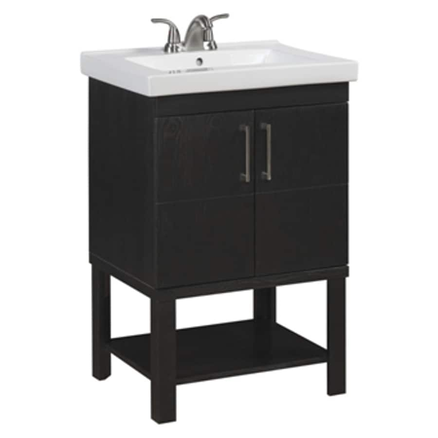 Shop Allen Roth Wall Mount Brown Bathroom Vanity Common 24 In X 19 In Actual 24 5 In X 19