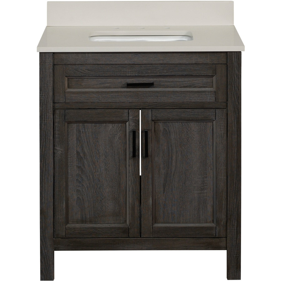 Scott Living Durham Gray Single Sink Bathroom Vanity With Engineered Stone  Top (Common: 30
