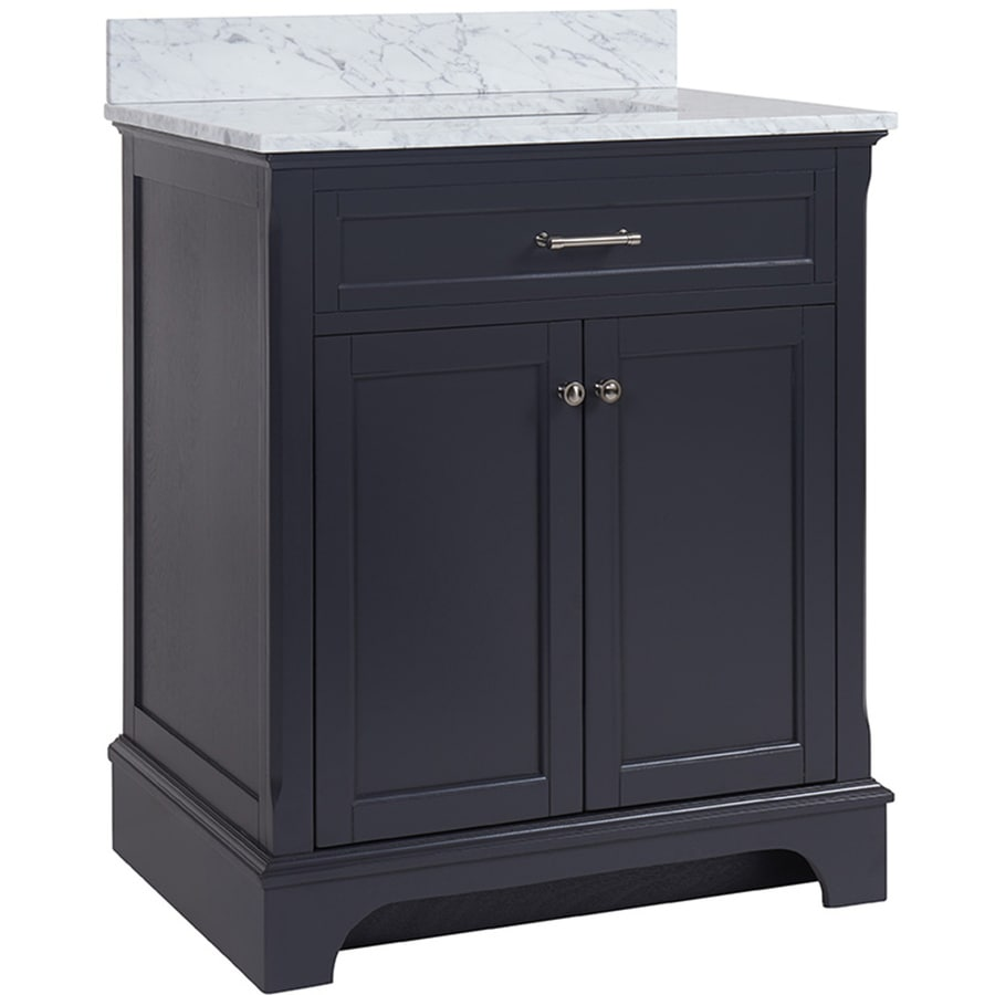 Shop Allen Roth Roveland Gray Undermount Single Sink Bathroom Vanity With Natural Marble Top