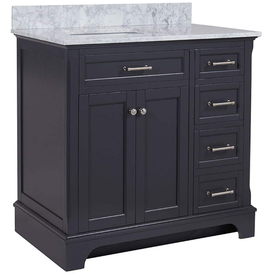 High Quality Allen + Roth Roveland Gray Undermount Single Sink Bathroom Vanity With  Natural Marble Top (Common