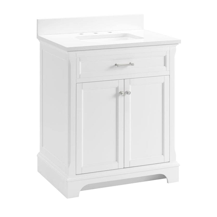 allen + roth Roveland White Undermount Single Sink Bathroom Vanity with Engineered Stone Top (Common: 30-in x 22-in; Actual: 30-in x 21.5-in)