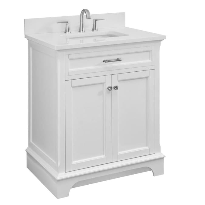 Scott Living Roveland 30 In White Single Sink Bathroom Vanity With White Engineered Stone Top In The Bathroom Vanities With Tops Department At Lowes Com