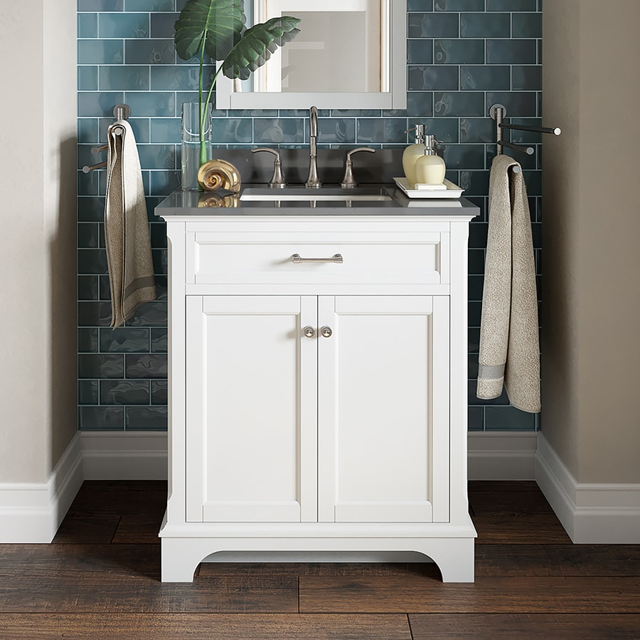 Allen Roth Roveland 30 In White Single Sink Bathroom Vanity With Dark Gray Engineered Stone Top In The Bathroom Vanities With Tops Department At Lowes Com