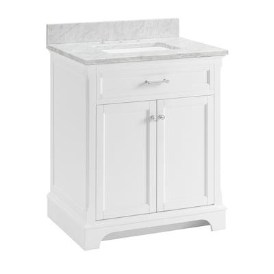 Roveland 30 In White Single Sink Bathroom Vanity With Natural Carrara Marble Top