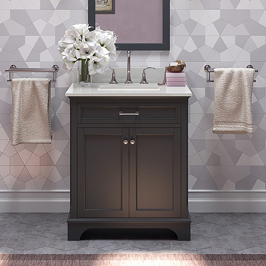 allen + roth Roveland Gray Undermount Single Sink Bathroom Vanity with Engineered Stone Top (Common: 30-in x 22-in; Actual: 30-in x 21.5-in)