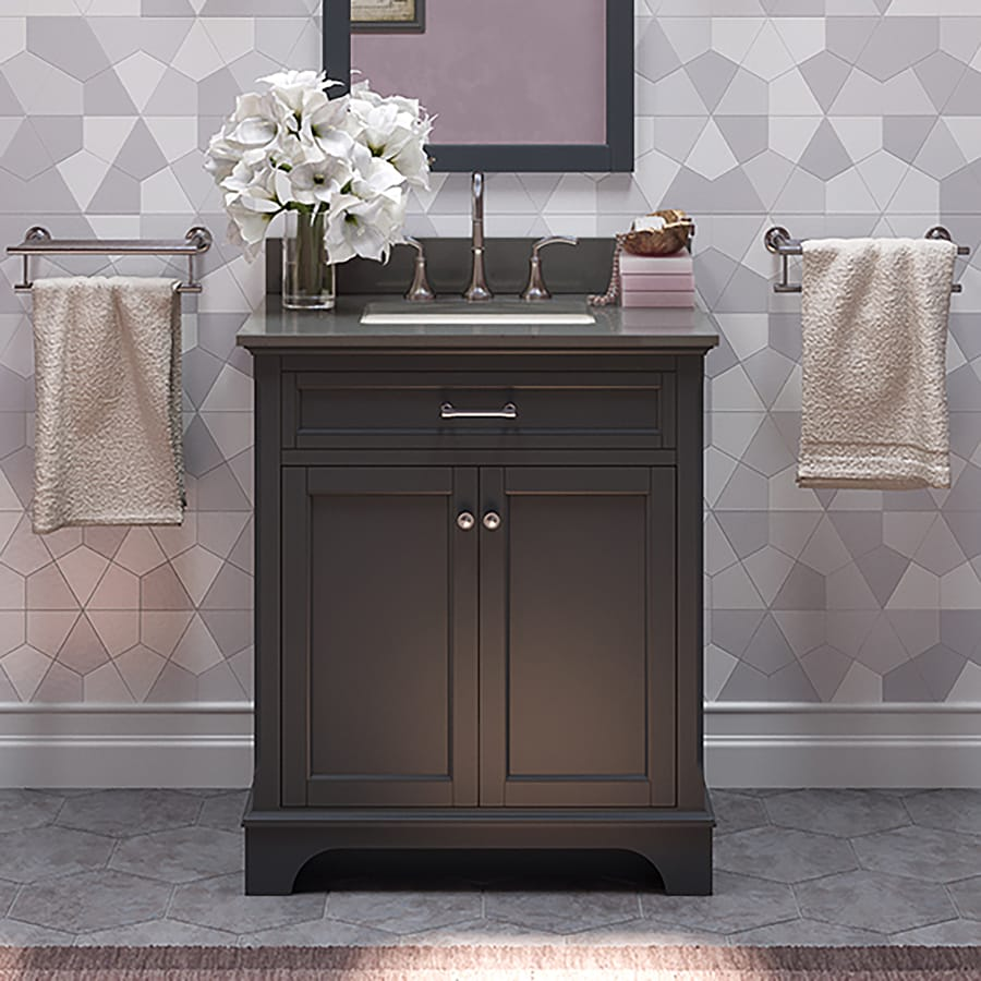 Shop allen + roth Roveland Gray Undermount Single Sink Bathroom Vanity with Engineered Stone Top ...
