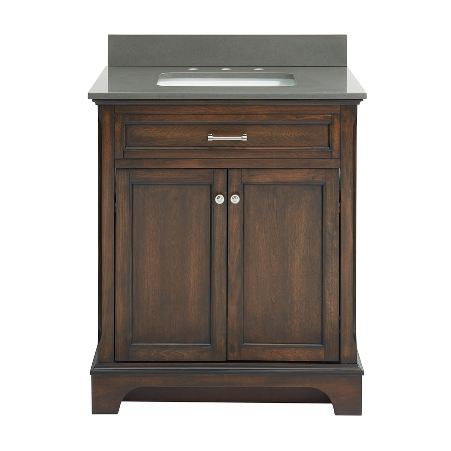 allen + roth Roveland Mahogany Undermount Single Sink Bathroom Vanity with Engineered Stone Top (Common: 30-in x 22-in; Actual: 30-in x 21.5-in)