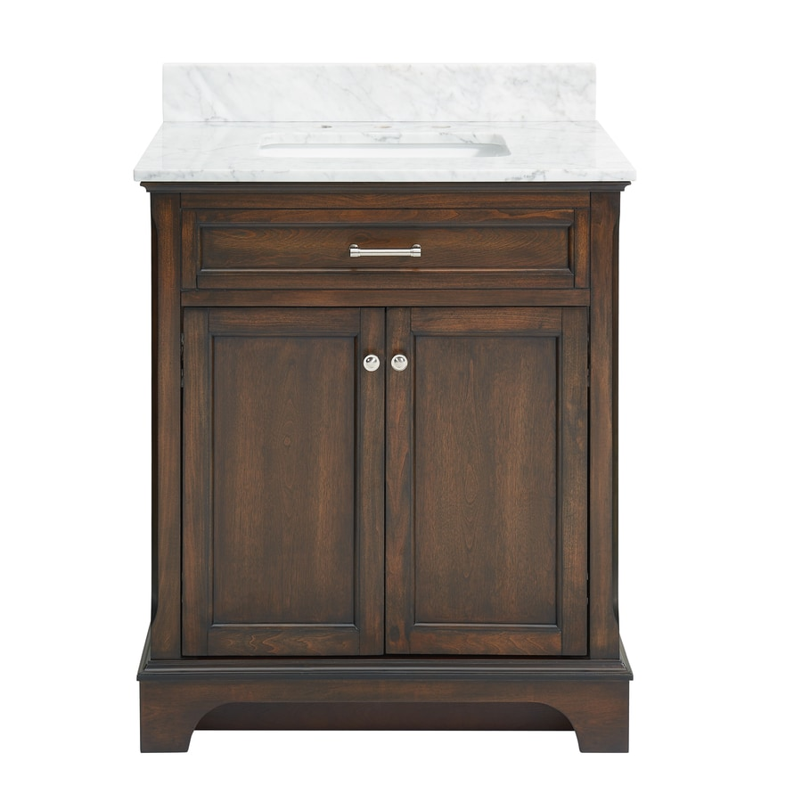 allen + roth Roveland Mahogany Undermount Single Sink Bathroom Vanity with Natural Marble Top (Common: 30-in x 22-in; Actual: 30-in x 21.5-in)