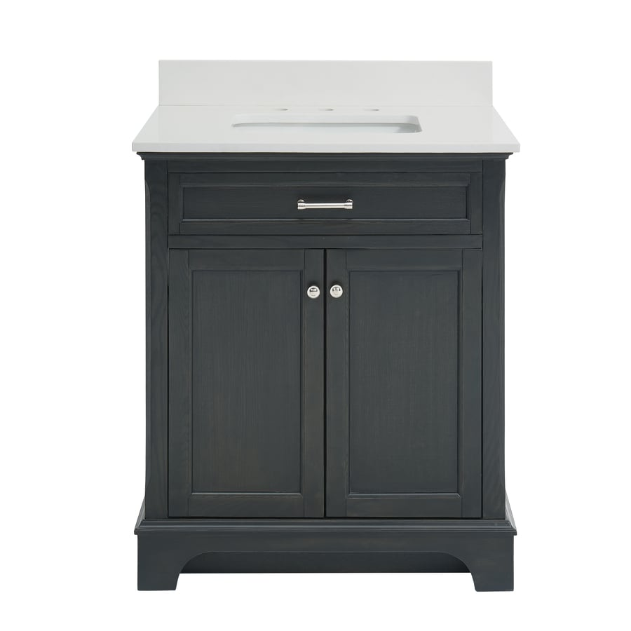 allen + roth Roveland Black Oak 30-in Undermount Single Sink Birch/Poplar Bathroom Vanity with Engineered Stone Top