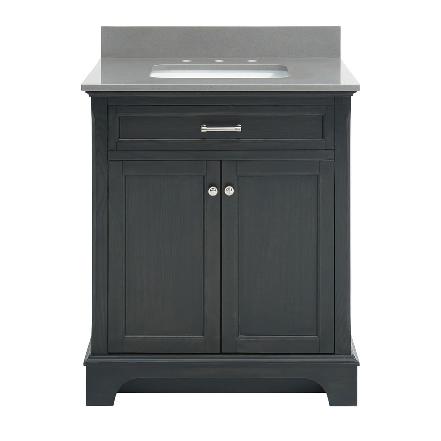 allen + roth Roveland Black Oak Undermount Single Sink Bathroom Vanity with Engineered Stone Top (Common: 30-in x 22-in; Actual: 30-in x 21.5-in)
