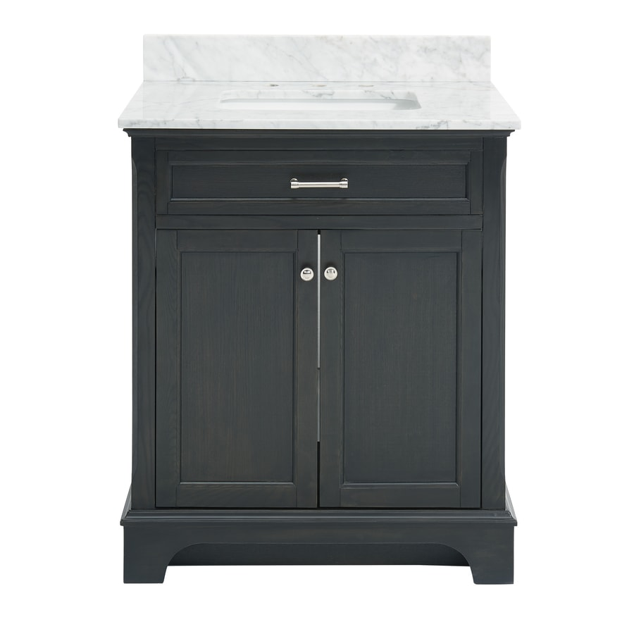 Shop allen roth roveland black oak undermount single for Single bathroom vanity