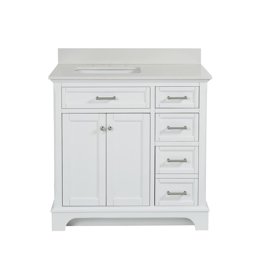 lowes white bathroom vanity shop allen roth roveland white undermount single sink 19361